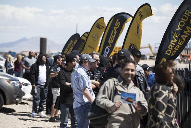 People lineup during the ceremonial track opening for SPEEDVEGAS on Friday, April 15, 2016, in Las Vegas. (Erik Verduzco/Las Vegas Review-Journal Follow @Erik_Verduzco)