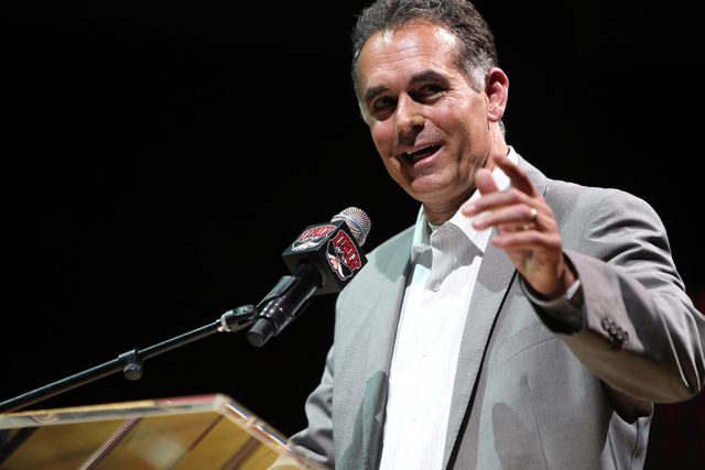 Danny Tarkanian, son of hall of fame coach Jerry Tarkanian, speaks during a public memorial for his father at the Thomas & Mack Center in Las Vegas Sunday, March 1, 2015. (Erik Verduzco/Las Ve ...