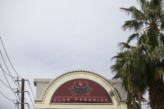 Club Paradise, located near the intersection of Harmon Avenue and Paradise Road in Las Vegas, is seen on Thursday, April 7, 2016. I've women have been indicted on credit card chargers during a lon ...