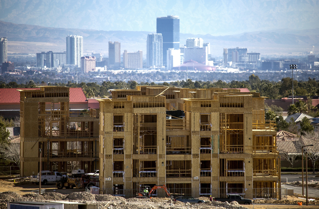 The Constellation apartment complex located on Town Center Drive and Griffith Peak Drive in Downtown Summerlin is seen during construction on Tuesday, Jan,12, 2015. Jeff Scheid/Las Vegas Review-Jo ...