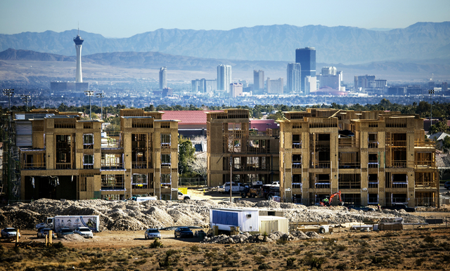 The Constellation apartment complex located on Town Center Drive and Griffith Peak Drive in Downtown Summerlin is seen during construction on Tuesday, Jan,12, 2015. (Jeff Scheid/Las Vegas Review-J ...