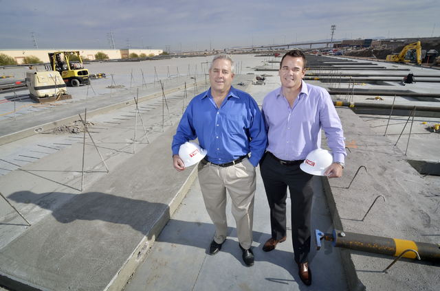 Matt Ryba, CEO of TWC Construction, left, and Mark Wilmer, executive vice president, are shown at the Black Mountain Distribution Center III construction site in Henderson on Thursday, Dec. 10, 20 ...