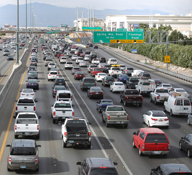 REVIEW-JOURNAL FILE PHOTO Traffic backs up on northbound Interstate 15 near the Strip earlier this month.