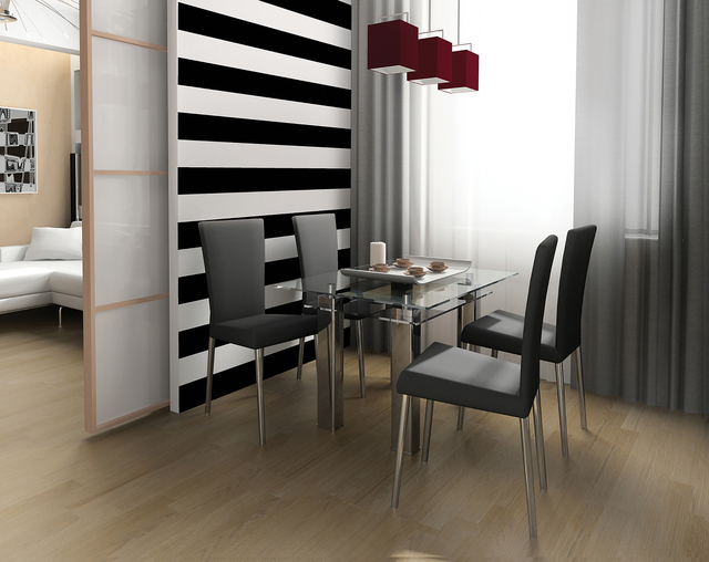 COURTESY TEMPAPER Horizontal striped wallpaper delineates the eating area of the small space.