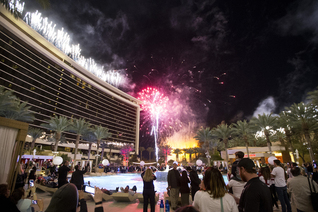 Guests watch the fireworks show during the Red Rock Resort 10th birthday celebration at Red Rock casino-hotel on Saturday, April 16, 2016, in Las Vegas. (Erik Verduzco/Las Vegas Review-Journal) Fo ...