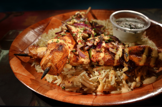 The chicken shish kabob is shown at Yanniճ Greek Grill at 9620 Las Vegas Blvd. South in Las Vegas on Friday, April 15, 2016. Bill Hughes/Las Vegas Review-Journal