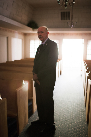Funeral director and Hawthorne Justice of the Peace Jay T. Gunter, poses at Gunterճ Funeral Home in Hawthorne, Nev. on Thursday, April 7, 2016. Gunter is also Esmerelda Countyճ deputy  ...
