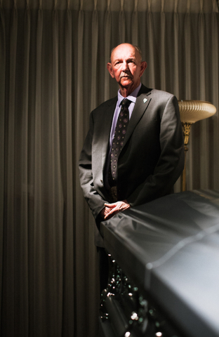 Funeral director and Hawthorne Justice of the Peace Jay T. Gunter, poses at Gunterճ Funeral Home in Hawthorne, Nev. on Thursday, April 7, 2016. Gunter is also Esmerelda Countyճ deputy coroner, r ...