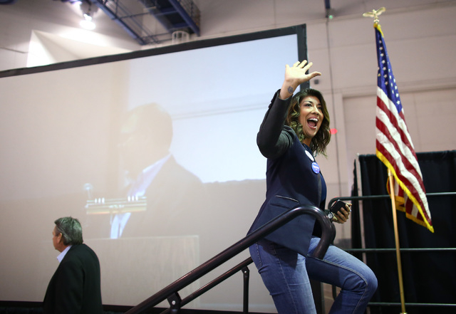 Congressional candidate Lucy Flores greets supporters during the Clark County Democratic Party Convention at Cashman Center in Las Vegas on Saturday, April 2, 2016.(Chase Stevens/Las Vegas Review- ...