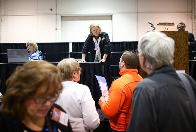 Parliamentarian Paula Petruso, center, answers questions during the Clark County Democratic Party Convention at Cashman Center in Las Vegas on Saturday, April 2, 2016. (Chase Stevens/Las Vegas Rev ...