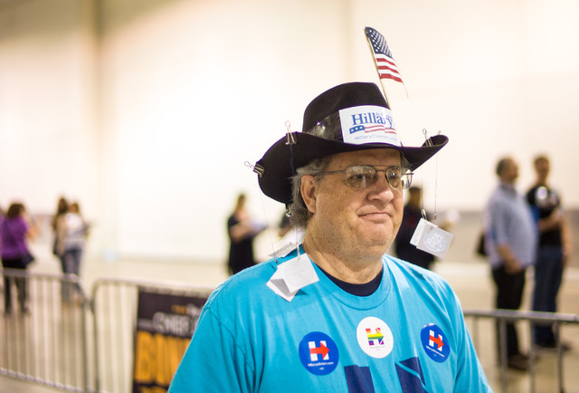 Scotty Babb poses for a portrait while lining up to register at the Clark County Democratic Party Convention at Cashman Center in Las Vegas on Saturday, April 2, 2016. (Chase Stevens/Las Vegas Rev ...