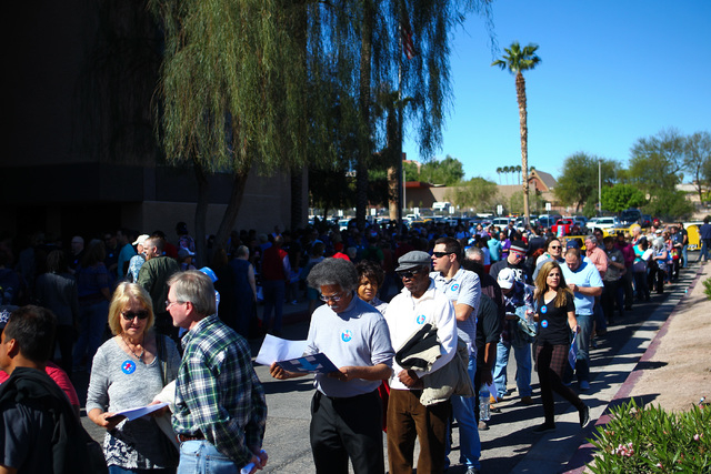 People line up to register at the Clark County Democratic Party Convention at Cashman Center in Las Vegas on Saturday, April 2, 2016. (Chase Stevens/Las Vegas Review-Journal) Follow @csstevensphoto