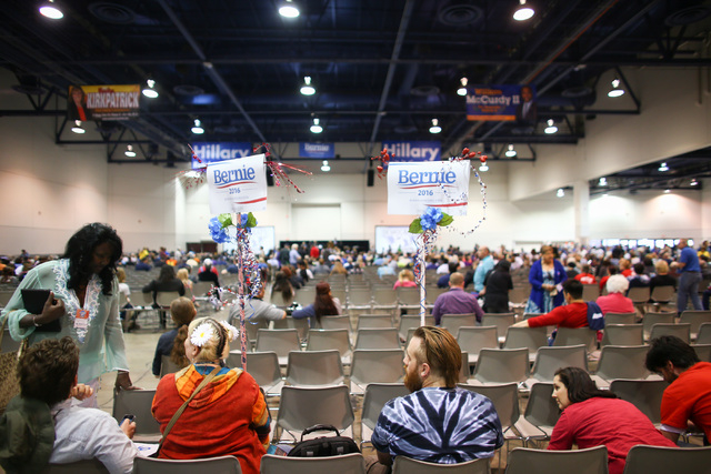 People sit during the Clark County Democratic Party Convention at Cashman Center in Las Vegas on Saturday, April 2, 2016. (Chase Stevens/Las Vegas Review-Journal) Follow @csstevensphoto