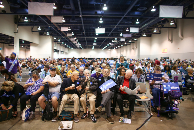 People sit during the Clark County Democratic Party Convention at Cashman Center in Las Vegas on Saturday, April 2, 2016. Chase Stevens/Las Vegas Review-Journal Follow @csstevensphoto