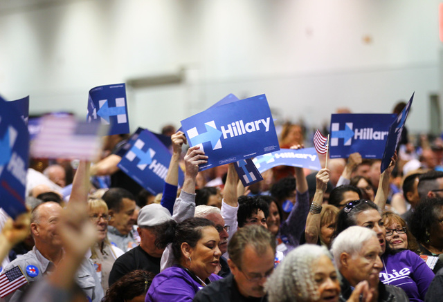 Supporters of Democratic presidential candidate Hillary Clinton cheer during the Clark County Democratic Party Convention at Cashman Center in Las Vegas on Saturday, April 2, 2016.(Chase Stevens/L ...
