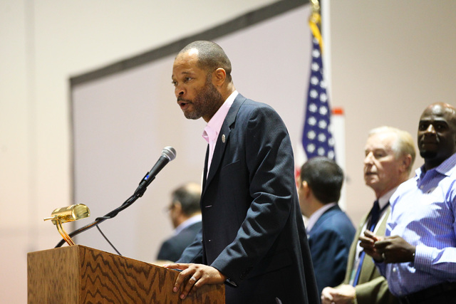 State Sen. Aaron Ford, D-Las Vegas, speaks during the Clark County Democratic Party Convention at Cashman Center in Las Vegas on Saturday, April 2, 2016.(Chase Stevens/Las Vegas Review-Journal) Fo ...
