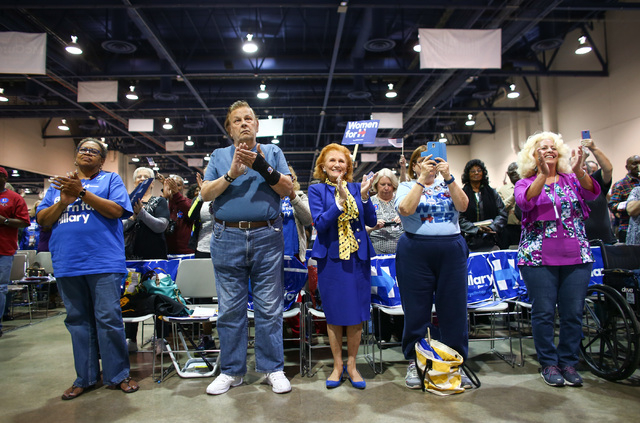 People clap during the Clark County Democratic Party Convention at Cashman Center in Las Vegas on Saturday, April 2, 2016. (Chase Stevens/Las Vegas Review-Journal)Follow @csstevensphoto