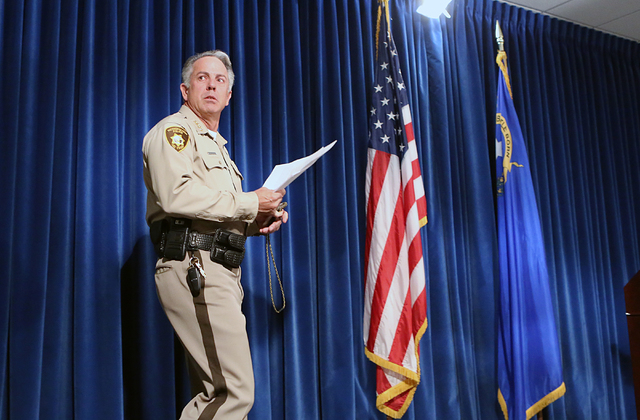 Metro Sheriff Joe Lombardo arrives to brief the media on violent crime spike at a news conference on Wednesday, April 27, 2016, at Las Vegas police headquarters. Bizuayehu Tesfaye/Las Vegas Review ...