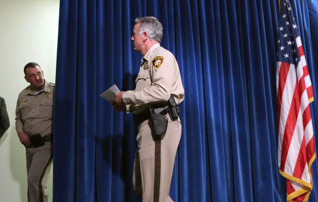 Metro Sheriff Joe Lombardo leaves the podium after briefing the media on violent crime spike at a news conference on Wednesday, April 27, 2016, at Las Vegas police headquarters. Bizuayehu Tesfaye/ ...