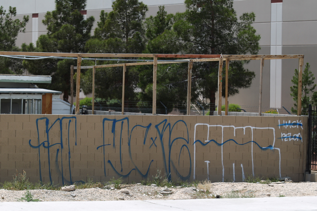 Graffiti covers a wall off of East Craig Road near Nellis Boulevard in Las Vegas on Friday, April 29, 2016. (Brett Le Blanc/Las Vegas Review-Journal) Follow @bleblancphoto