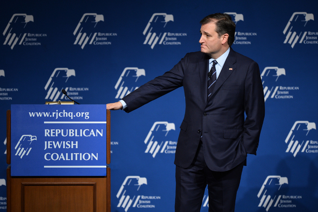 Republican presidential candidate, Sen. Ted Cruz, R-Texas, listens to a question from an audience member while speaking to the Republican Jewish Coalition at the Venetian in Las Vegas on Saturday, ...