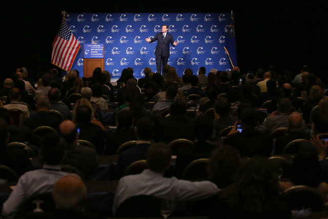 Republican presidential candidate, Sen. Ted Cruz, R-Texas, speaks to the Republican Jewish Coalition at the Venetian in Las Vegas on Saturday, April 9, 2016. Brett Le Blanc/Las Vegas Review-Journa ...