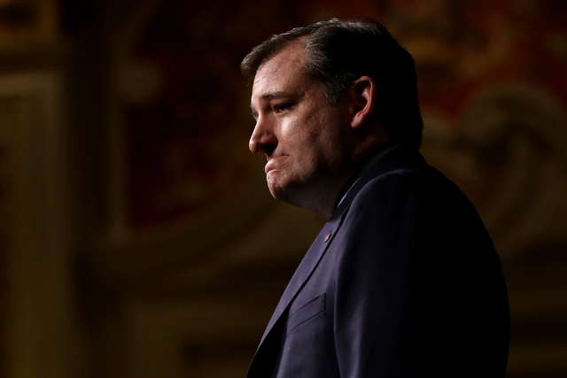Republican presidential candidate, Sen. Ted Cruz, R-Texas, speaks to the Republican Jewish Coalition at the Venetian in Las Vegas on Saturday, April 9, 2016. Brett Le Blanc/Las Vegas Review-Journa ...