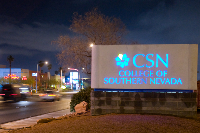 The College of Southern Nevada sign on the Charleston campus. (Duane Prokop/Las Vegas Review-Journal file photo)