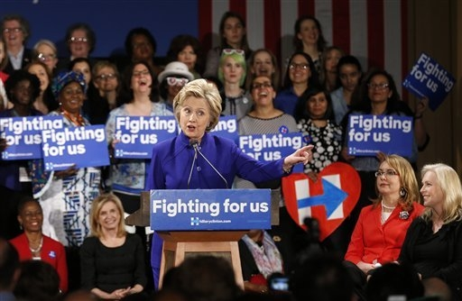 Democratic presidential candidate Hillary Clinton speaks at a Women for Hillary event at the New York Hilton hotel in midtown Manhattan one day ahead of the New York primary, Monday, April 18, 201 ...