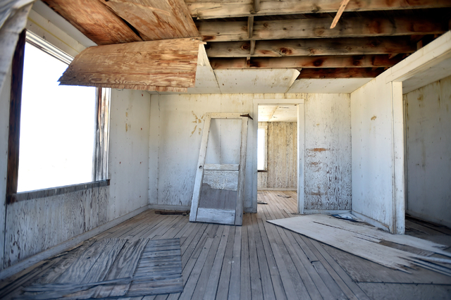 "The interior of one of the remaining structures of ""Survival Town"" is seen in Area 1 at the Nevada National Security Site Wednesday, April 20, 2016.  (David Becker/Las Vegas Review-Journal) Follow ..."
