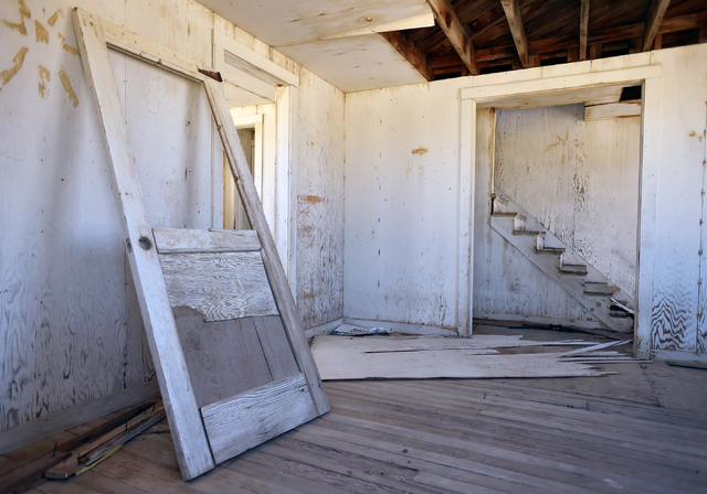 "The interior of one of the remaining structures of ""Survival Town"" is seen in Area 1 at the Nevada National Security Site on Wednesday, April 20, 2016. (David Becker/Las Vegas Review-Journal Follo ..."