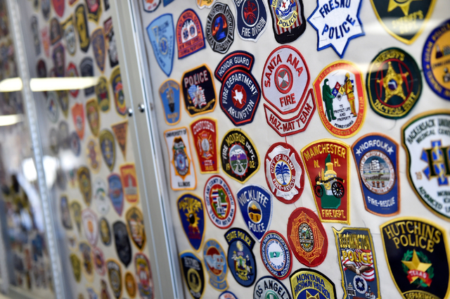 Some of the hundreds of agency patches are displayed at the Counter-Terrorism Operations Support training facility at the Nevada National Security Site on Wednesday, April 20, 2016 in Mercury.  (D ...