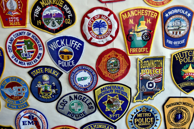 Some of the hundreds of agency patches are displayed at the Counter-Terrorism Operations Support training facility at the Nevada National Security Site on Wednesday, April 20, 2016 in Mercury. (Da ...
