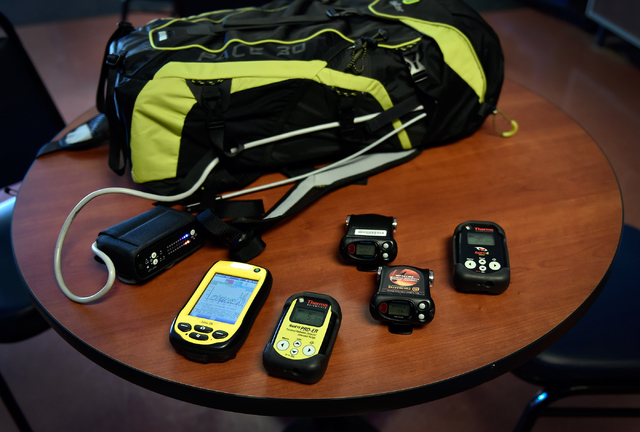 Personal radiation detectors are displayed at the Counter-Terrorism Operations Support training facility at the Nevada National Security Site on Wednesday, April 20, 2016 in Mercury. (David Becker ...