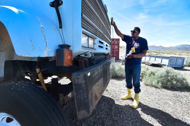Student Gerry Tarver of the Tulsa, Okla., Fire Department surveys for radioactive material at the Nevada National Security Site on Wednesday, April 20, 2016. (David Becker/Las Vegas Review-Journal ...