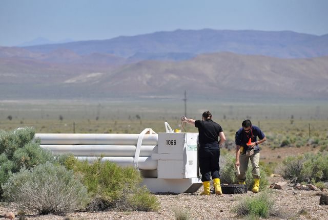 Students survey for radioactive material at the Counter-Terrorism Operations Support training facility at the Nevada National Security Site on Wednesday, April 20, 2016.  (David Becker/Las Vegas R ...