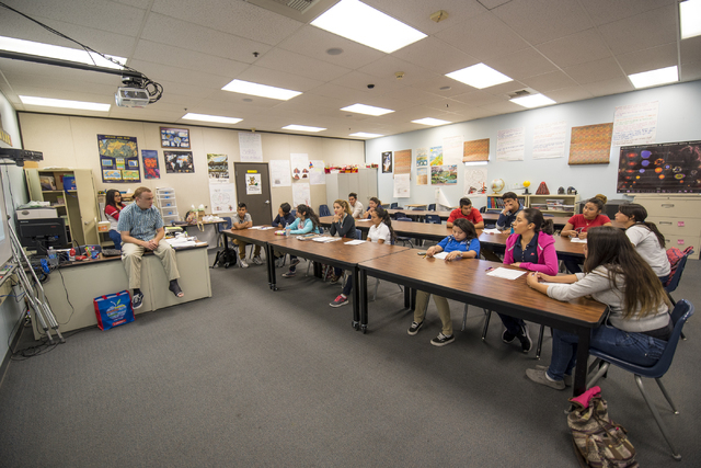 A geology class is seen at Global Community High School in Las Vegas on Wednesday, April 20, 2016. Global Community High School specializes in students transitioning into learning English. Joshua  ...