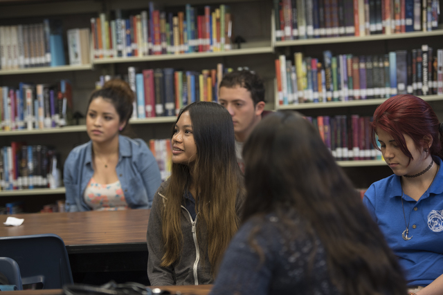 Naruephon Sukcharoen, a native of Thailand, second from left, listens during class at Global Community High School in Las Vegas on Wednesday, April 20, 2016. Global Community High School specializ ...