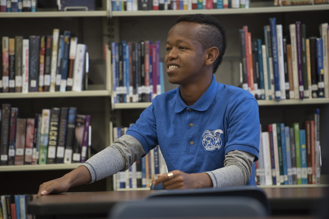 Amanuel Kifleyohahes, a native of Ethiopia, is seen during class at Global Community High School in Las Vegas on Wednesday, April 20, 2016. Global Community High School specializes in students tra ...