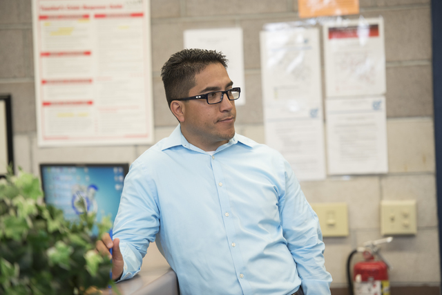 Principal Gerald Bustamante is seen during class at Global Community High School in Las Vegas on Wednesday, April 20, 2016. Global Community High School specializes in students transitioning into  ...