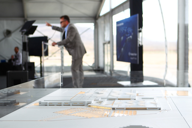 The model for Faraday Future's planned 900-acre manufacturing site is shown during the groundbreaking event in North Las Vegas on Wednesday, April 13, 2016. Chase Stevens/Las Vegas Review-Journal  ...