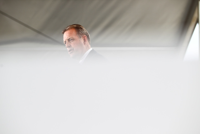 North Las Vegas Mayor John Lee speaks during the groundbreaking for Faraday Future's planned 900-acre manufacturing site in North Las Vegas on Wednesday, April 13, 2016. Chase Stevens/Las Vegas Re ...