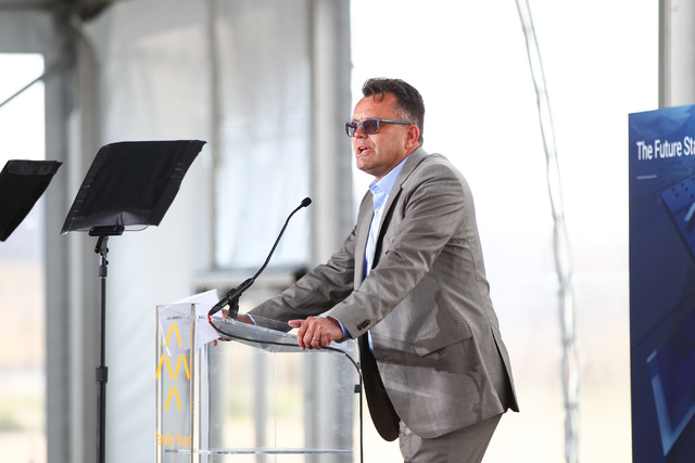 Faraday Future Vice President of Manufacturing Dag Reckhorn speaks during the groundbreaking for the company's planned 900-acre manufacturing site in North Las Vegas on Wednesday, April 13, 2016.  ...