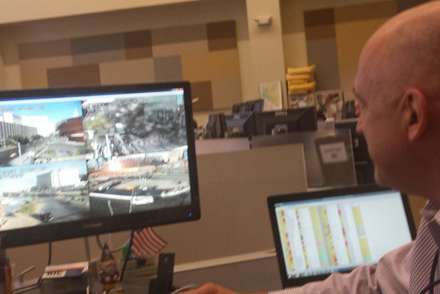 Brian Hoeft monitors traffic for the T-Mobile Arena opening at FAST Center. (@RickVelotta/Twitter)