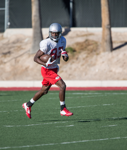 UNLV junior wide receiver Devonte Boyd (83) runs the ball during a team practice at UNLV's Rebel Park on Friday, April 1, 2016, in Las Vegas. Donavon Lockett/Las Vegas Review-Journal