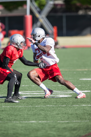 UNLV junior wide receiver Kendal Keys (84) and senior defensive back Torry McTyer (4), left, make contact during a practice at UNLV's Rebel Park on Friday, April 1, 2016, in Las Vegas. Donavon Loc ...