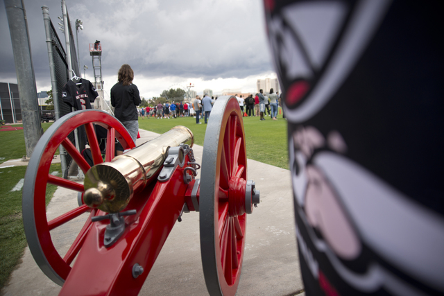The Fremont Cannon is displayed prominently during the Spring Showcase football event at Peter Johann Memorial Field on the UNLV campus in Las Vegas on Saturday, April 9, 2016. The event was cut s ...