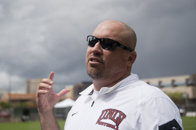 UNLV football head coach Tony Sanchez talks with media after the Spring Showcase football event at Peter Johann Memorial Field on the UNLV campus in Las Vegas on Saturday, April 9, 2016. The event ...