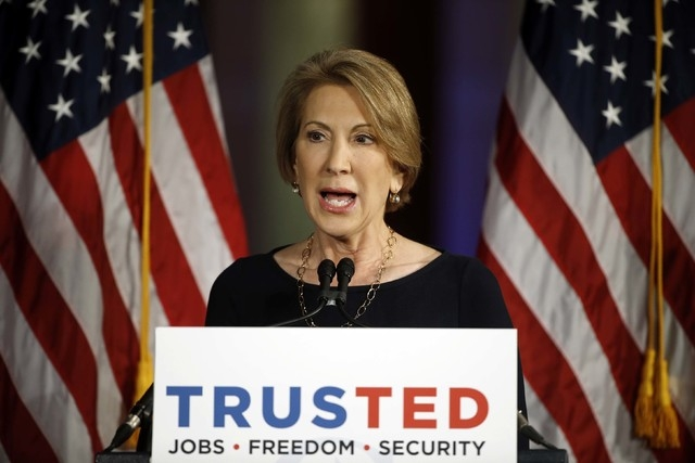 Carly Fiorina speaks at a campaign stop for Republican presidential candidate Sen. Ted Cruz, R-Texas, Tuesday, April 19, 2016, in Philadelphia. (Matt Rourke/AP)