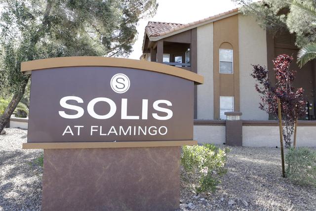 A man is dead after a shooting at Solis at Flamingo apartment complex, 3223 E. Flamingo Road, Monday night, April 18, 2016. (Bizuayehu Tesfaye/Las Vegas Review-Journal Follow @bizutesfaye)